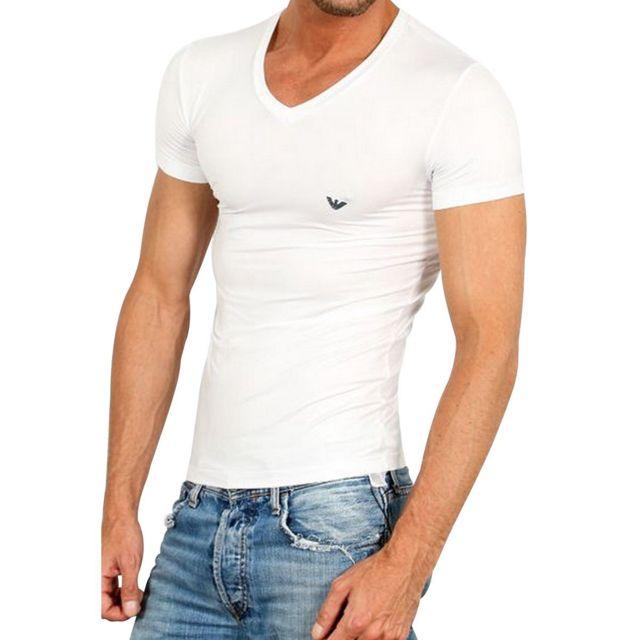Armani Ea7 - Tee Shirt Col V Mc Blanc Emporio Armani. Description  Fiche  technique. Voici l ensemble des caractéristiques de ... c31ebc454fb