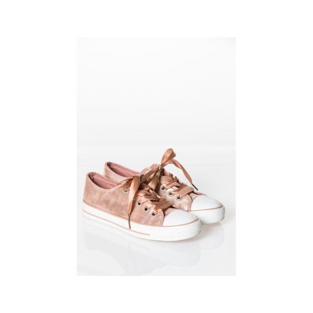 Princesse Boutique - Basket Rose lacets ruban - pas cher Achat ... 6c737c7af7c2