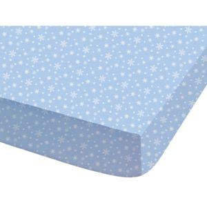 disney drap housse 100 coton flocons de neige bleu blanc 90x190cm frozennc pas cher achat. Black Bedroom Furniture Sets. Home Design Ideas