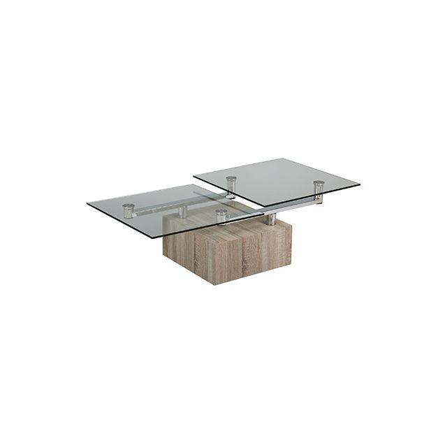 Table basse carré socle en bois et plateau en verre trempé