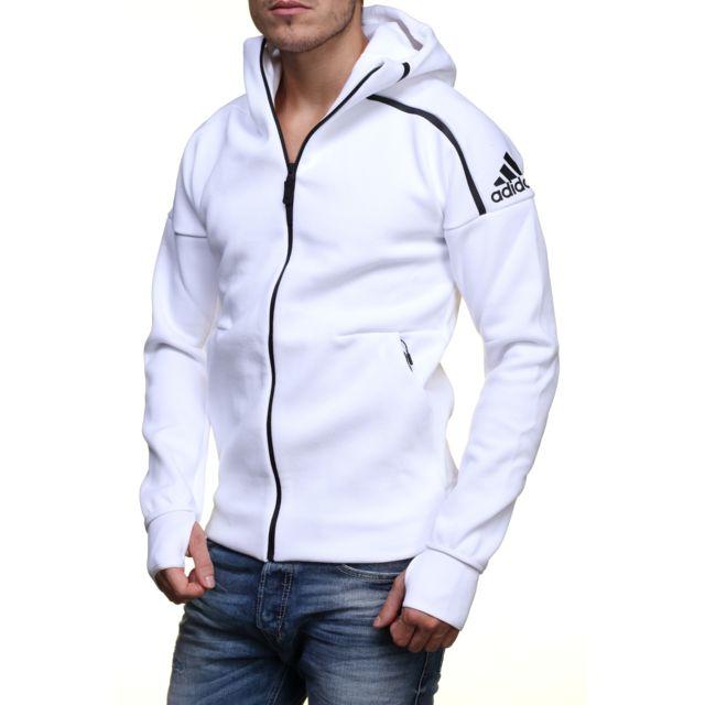 Adidas Gilet Zne Hoody B48878 Blanc pas cher Achat