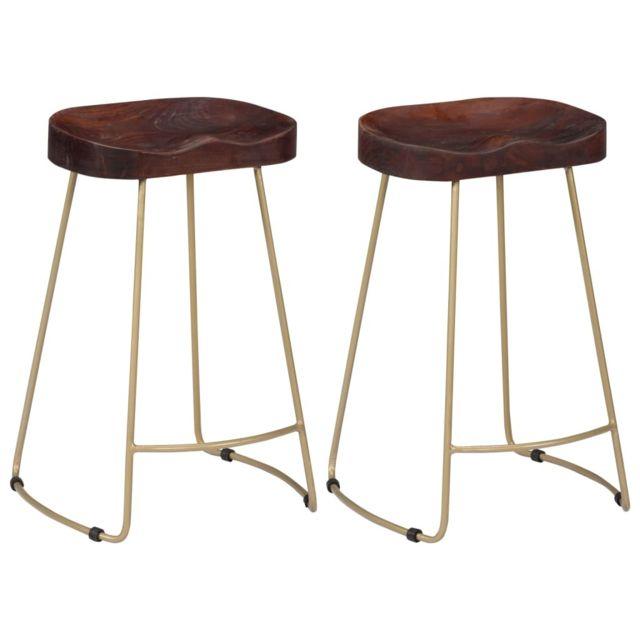 Icaverne Tabourets & chaises de bar ensemble Tabourets de bar Gavin 2 pcs Bois de manguier massif