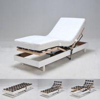 No Name - Sommier relaxation électrique Flexpalace 80x200 Cm tête et pied relevables/ Blanc
