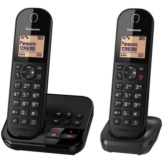 PANASONIC - Téléphone fixe duo avec répondeur - KX-TGC422FRB - Noir ... fe289516f791