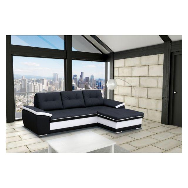 MEUBLESLINE Canapé d'angle moderne 4 places LONDON noir et blanc simili cuir