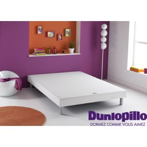 dunlopillo sommier dunlosom 14 cm pieds cylindriques coloris aluminium blanc pas cher. Black Bedroom Furniture Sets. Home Design Ideas