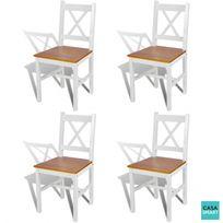 Casasmart - Lot de 4 Chaises Calvin en bois blanc