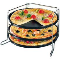 Zenker - Moules 3 pizza 29 cm Métal Anti-Adhésif a/supporf