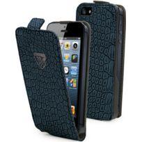Cremieux - Etui à rabat slim croco bleu navy iPhone 5 Crsli0008