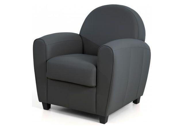 Vente Fauteuil Club declikdeco - fauteuil club effet cuir anthracite morgane gris - pas