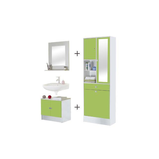 Ensemble meubles salle de bain coloris blanc et vert pomme ...