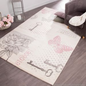 mathilde et pauline tapis 100 polypro motifs papillons roses gris effet laine elegance. Black Bedroom Furniture Sets. Home Design Ideas