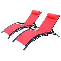 Duo 2 bains de soleil en Aluminium et textilène lounge Louisa transat Anthracite Corail