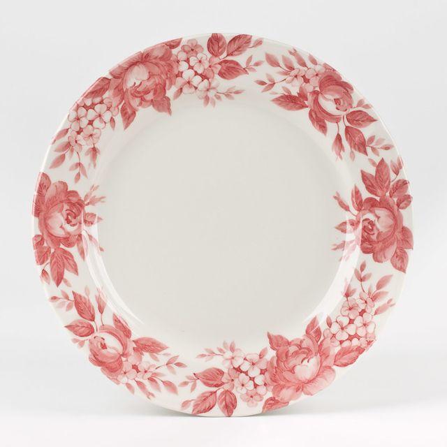 Table Passion Assiette plate en faïence D.27cm motif floral rose - Lot de 6 pièces Splendor