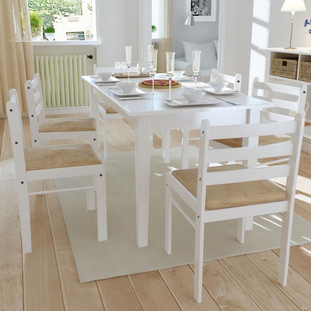 Vidaxl Lot de 6 chaises salle à manger en bois Carrée Blanche