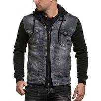 BLZ Jeans - Veste en jean sweat noir délavé