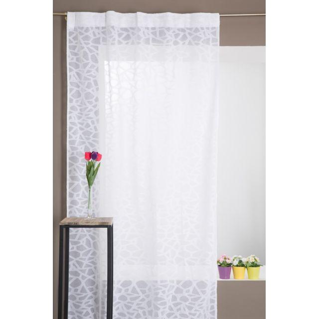 rideaudiscount voilage grande hauteur galon fronceur 135 x 280 cm motif mosa que abstrait. Black Bedroom Furniture Sets. Home Design Ideas