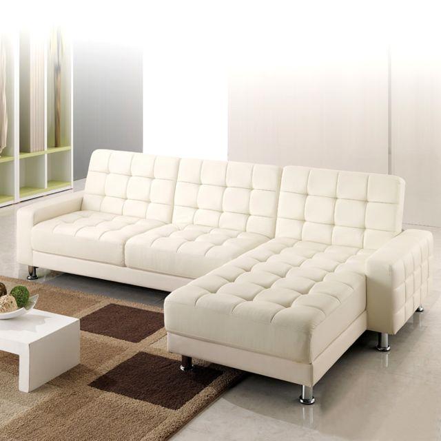 CONCEPT USINE Callisto : canapé d'angle 3 places convertible lit blanc