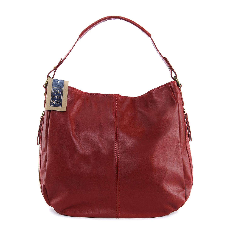 54b2bb616a OH MY BAG- Sac à main femme cuir souple - Modèle Cannes rouge foncé -