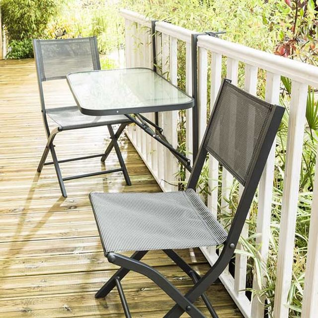 Wilsa - Table de jardin De Balcon Pliante Gris - 50cm x 50cm x 90cm