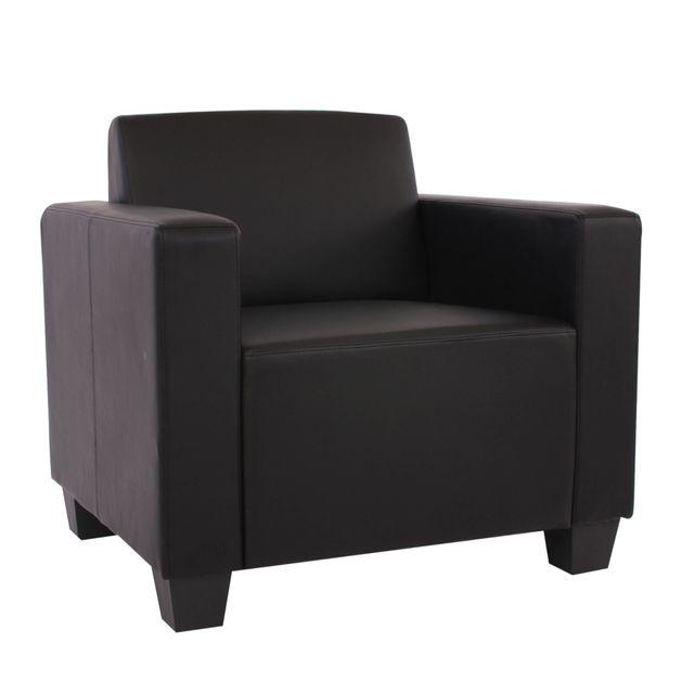 Mendler Fauteuil modulaire Lyon, fauteuil lounge, similicuir ~ noir