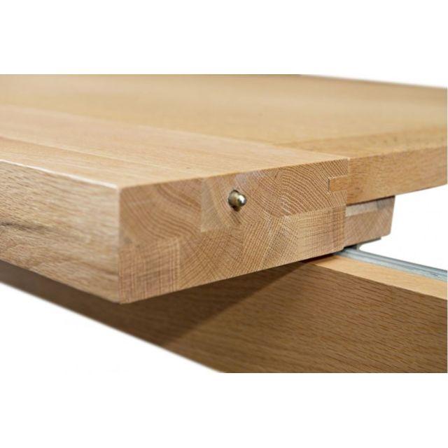 HELLIN - Table extensible MANSART - bois chêne clair massif 220cm x 76cm x 90cm