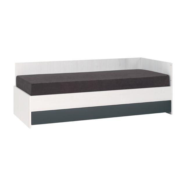 vox lit banquette 90x200 nest blanc gris pas cher achat vente structures de lit. Black Bedroom Furniture Sets. Home Design Ideas