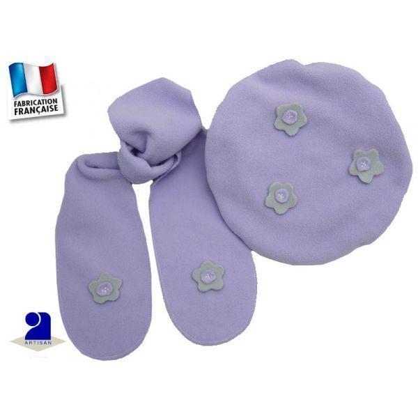 Poussin Bleu - Béret-Echarpe polaire 6-24 mois, Parme Couleur - Mauve 0e58ec61897