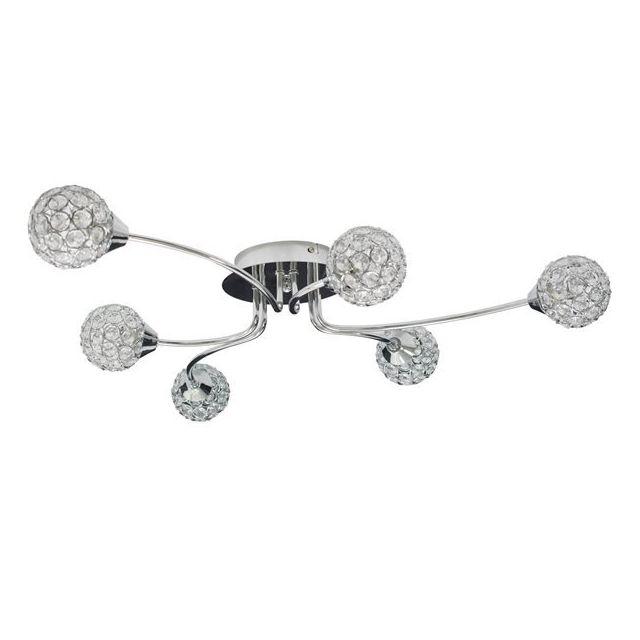 Générique Plafonnier design chrome 6 lumières Spots diffuseurs métal et verre Ampoules G9 33 Watts Compatible Led