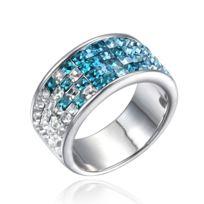 5aaa2efd5d321 Blue Pearls - Bague en Cristal de Swarovski Elements Blanc, Bleu et Plaqué  Rhodium -