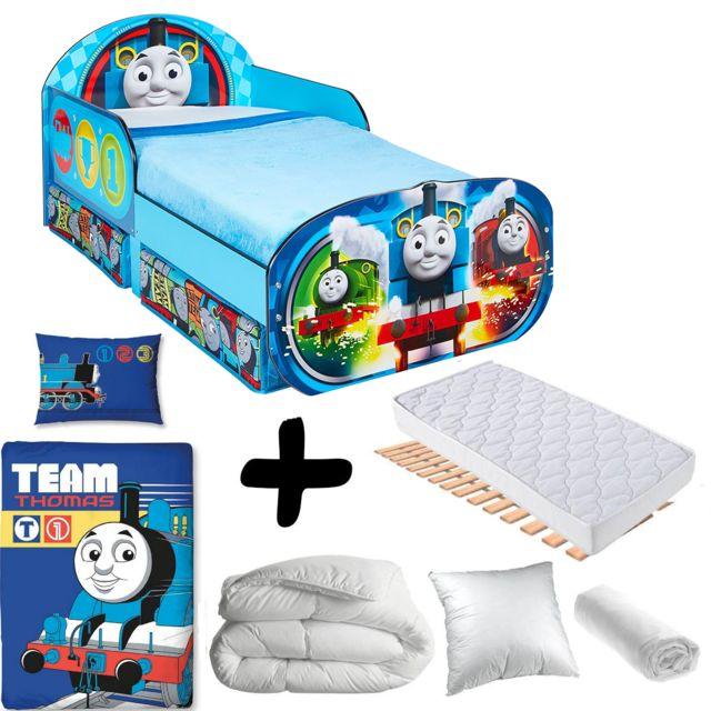 Bebe Gavroche Pack complet Premium Lit Thomas et ses amis Wagon avec tiroirs = Lit+Matelas & Parure+Couette+Oreiller