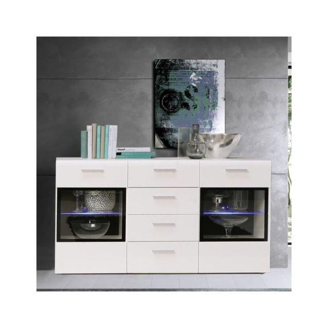 Usines Discount - Slate Buffet 150cm blanc brillant et noir ...