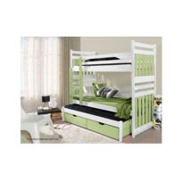 House and Garden - Lit Superpose Design Blanc 3 Couchages - Victor Sans matelas Blanc et vert