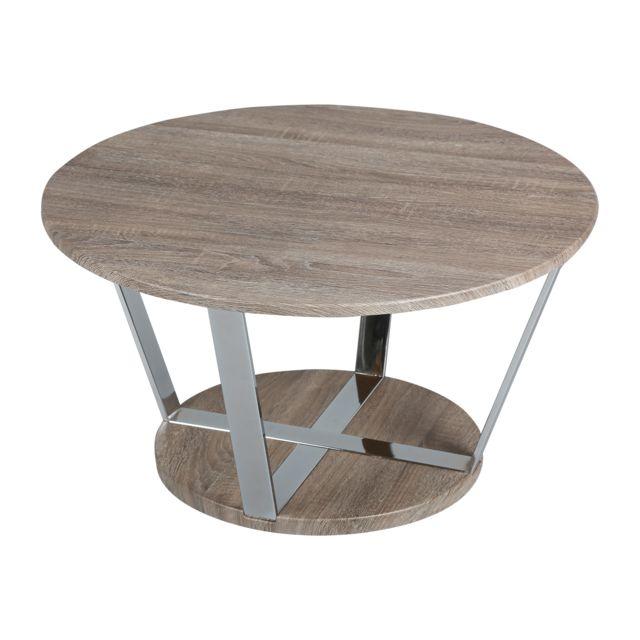 autre table basse ronde 80cm en acier et plateau blois scott marron pas cher achat vente. Black Bedroom Furniture Sets. Home Design Ideas