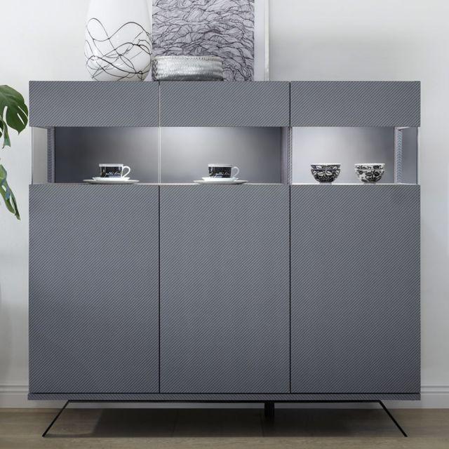 Kasalinea Buffet haut design gris avec Led Palermo 4