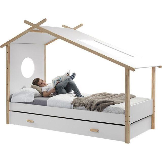 COMFORIUM - Lit 90x200 cm design cabane avec tiroir-lit en pin massif et MDF coloris blanc et naturel 90cm x 200cm