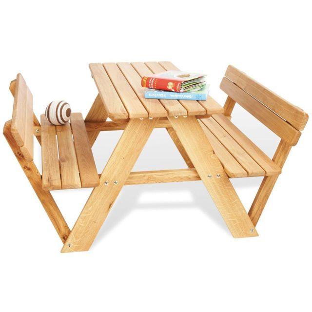 COMFORIUM Lot de table de jardin à 4 places et 2 bancs avec dossier en chêne massif coloris naturel
