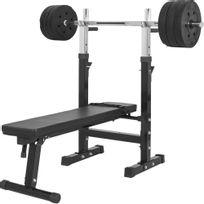 Gorilla Sports - Banc de musculation Gs006 + Set disques en plastiques et barre longue 38KG
