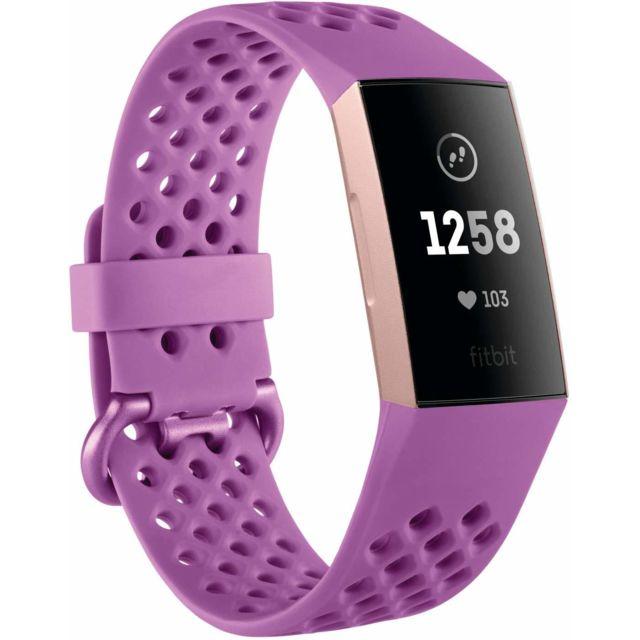 Fitbit Charge 3 Advanced Fitness Tracker avec fréquence cardiaque, suivi de la natation et batterie 7 jours - Rose-Or / Berry,