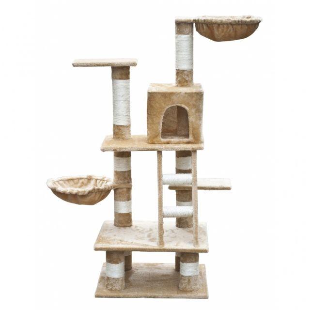 casasmart arbre chat beige et blanc 122cm pas cher achat vente arbre chat rueducommerce. Black Bedroom Furniture Sets. Home Design Ideas