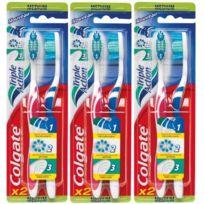 Colgate - Brosse à Dents Triple Action Medium Lot de 3- mention aleatoire