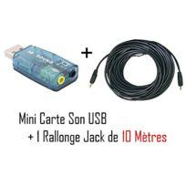 Cabling - Adaptateur Usb Audio Carte son 3D 5.1 usb + cable jack 10 mètres