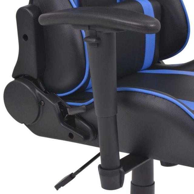 Fauteuil chaise chaise de bureau inclinable avec repose pied bleu 0502030