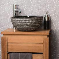 Wanda Collection - Vasque à poser en pierre marbre Vesuve noir 35cm