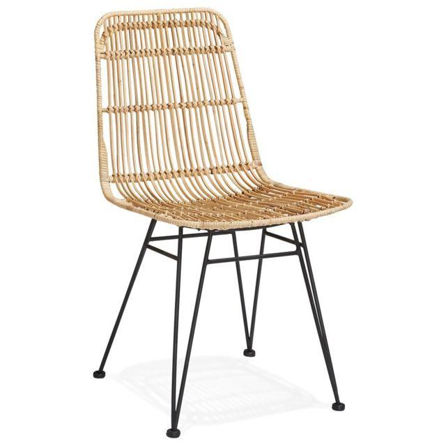 Alterego Chaise design 'PANAMA' en rotin pas cher Achat