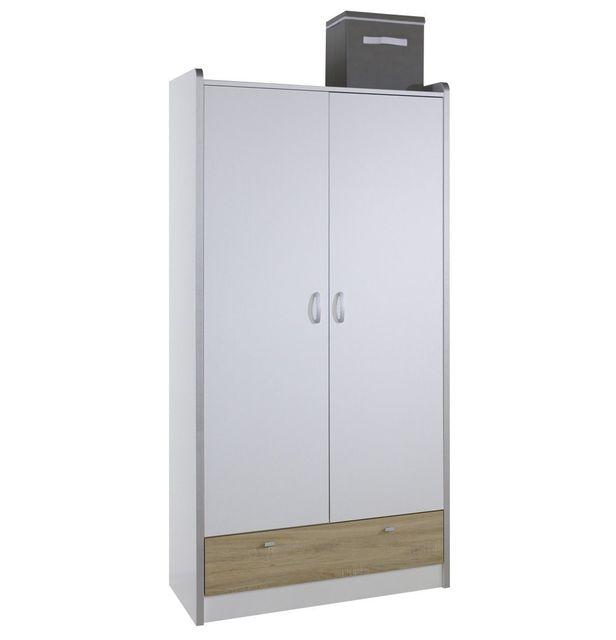 COMFORIUM - Armoire design à 2 portes et 1 tiroir coloris blanc et chêne 56cm x 95cm x 195cm