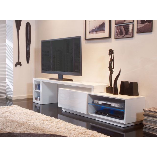 meuble tv blanc 160. Black Bedroom Furniture Sets. Home Design Ideas