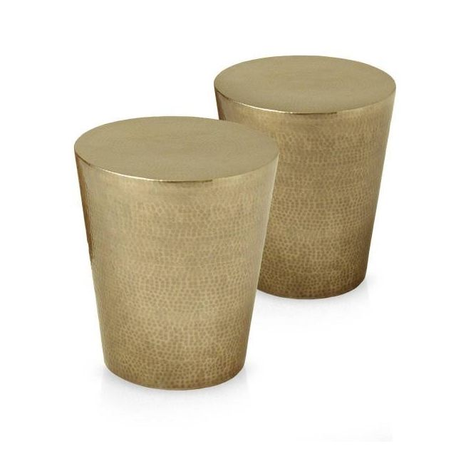 MENZZO Lot de 2 tables basses rondes en métal poli martelé Gaby Or