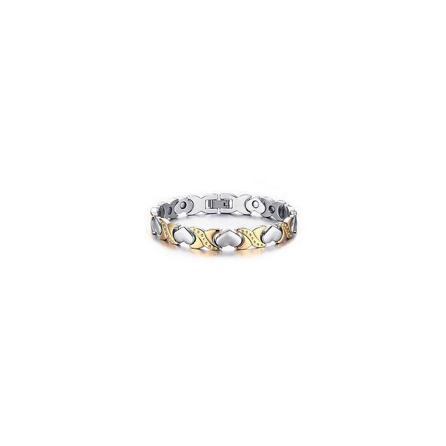 8b14ede3cb373 Alpexe - Bracelet femme thérapie magnétique couleur doré   argent avec  cœur. Matière   Acier