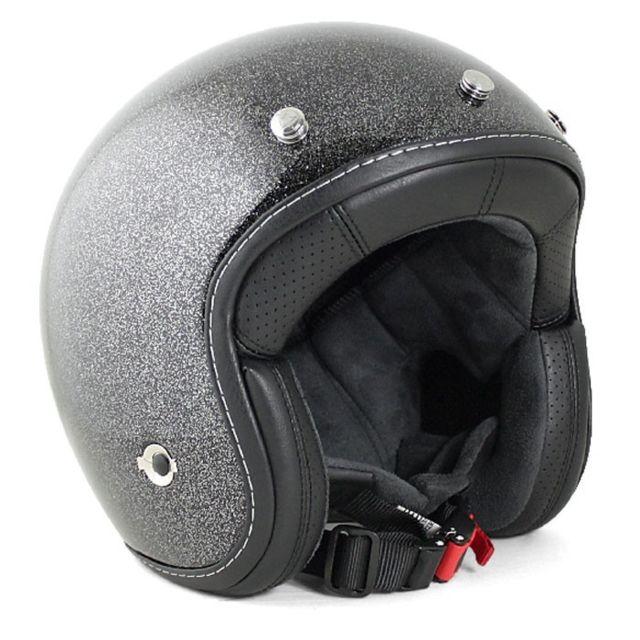 Harisson - casque jet moto scooter fibre noir pailleté - Ca201